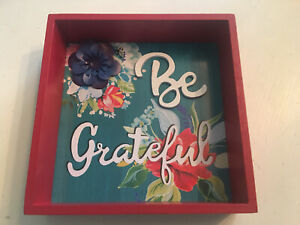 Pioneer Woman Be Grateful Shadow Box Wood Sign With Flowers