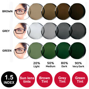 Tinted Sun Lenses Fitted to Frame - 1.5 Index in Brown, Grey or Green