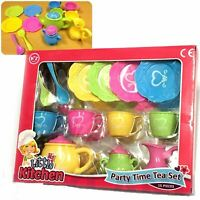 Party Time 15 Piece Tea Set Teapot Tea Cups Saucers Christmas Kids Role Play Toy