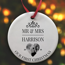 Personalised 1st Christmas 2018 Mr & Mrs Round Flat Ceramic Bauble Add a Photo