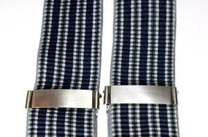 New Trafalgar Suspenders Braces Stripped Blue Green Grey Silver Faux Croc Tabs