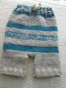 """Baby Diaper Cover Woolie Soaker Heavy Knit Prewashed Lanolized Oatmeal Teal 22"""""""