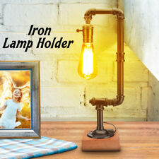 E27 Vintage Industrial Steampunk Iron Metal Water Pipe Desk Table Lamp Lighting