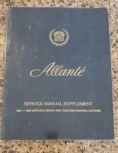 1987 1988 1989 1990 1991 1992 Cadillac Allante Service Shop Manual Supplement