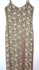 DOROTHY PERKINS Ladies GOLD Lace Dress Black Lined Stretch Fitted Size 10 Long