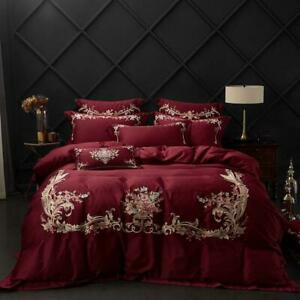 Wine Red Luxury Bedding Sets Queen King 4Pcs Premium Egyptian Cotton Embroidery