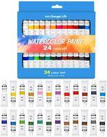 24 tubes en aluminium, Kit de peinture aquarelle de qualité professionnelle