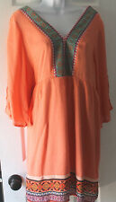 BoHo Gypsy White Mark Coral Embroider Look Tunic Sun Dress Cover Up Casual LARGE