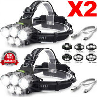 2x 90000LM 5x T6 LED Headlamp Head Light Flashlight USB Rechargeable Torch Lamp