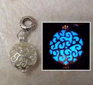 GLOW IN THE DARK Double Sided Round Shiny Silver Filigree Swirl Charm Necklace