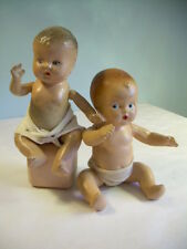 2 SWEET Antique Composition Doll Baby set in Diaper Drink + Wets strink jointed
