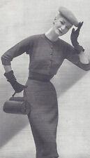 Vintage Knitting PATTERN to make Designer Sheath Dress Short Jacket Full Skirt O