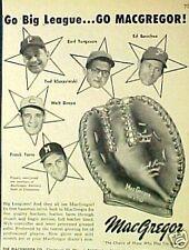 1959 Kluszewski~Dropo~Torre~Bouchee Macgregor Baseball Gloves ODDBALL SPORTS AD