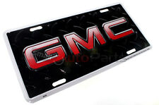 NEW!!! GMC LOGO LICENSE PLATE ALUMINUM STAMPED EMBOSSED METAL BLACK TAG