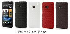 COVER  HTC ONE M7  IN PELLE INTRECCIATA