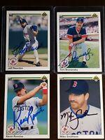 1990 Upper Deck Red Sox x4 Auto Lot Autograph Signed Cards Reardon Brunansky