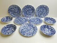 Churchill Bermuda Blue Salad Plates Cereal Bowl Georgian Earthenware England Set