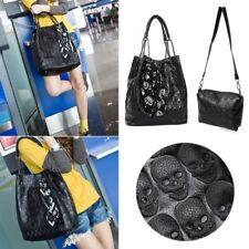 2pcs Lady Women Skull Handbag Shoulder Bags Tote Purse Messenger Crossbody Set