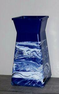 Cobalt Blue Glass Vase/Hand Painted Blue Vase