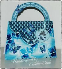 HB49 - Handmade Personalised Handbag Shape Birthday/Age/Female Card Blue