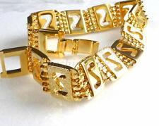24k baádo en Oro Amarillo Banda Pulsera de eslabones 20cm 12mm