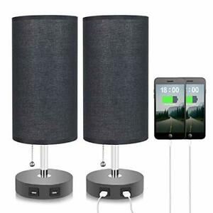 Black Dual USB Table Lamp,  Bedside Nightstand Desk Lamp, Phone charging lamp