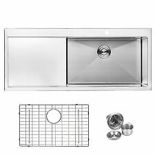 """BAI 1232 - 48"""" Handmade Stainless Steel Kitchen Sink Single Bowl With Drainboard"""