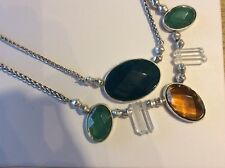 LUCKY BRAND Silver-Tone Teal Quartz Statement Necklace NWT $65 #Y112a