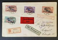 1922 Memel Stuttgart Germany Inflation Rate Registered Overprint Air Mail Cover