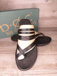 New ~ BOC Born Alisha Black Thong Flip Flop Flat Sandals Women's Size 10 / 42