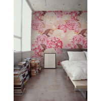 Roses and hydrangea Removable wallpaper pink and white wall mural design