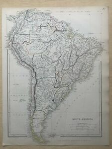 1848 SOUTH AMERICA LARGE HAND COLOURED MAP BY J.W LOWRY 172 YEARS OLD