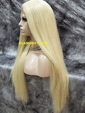 Long Straight Layered Bleach Blonde Full Lace Front Wig Heat Ok Hair Piece #613