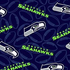 """SEATTLE SEAHAWK NFL Cotton Fabric Navy Emblems by the 1/2 yard ~ 58"""" Wide"""
