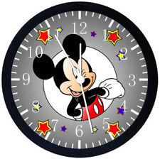 Disney Mickey Mouse Black Frame Wall Clock Nice For Decor or Gifts E110