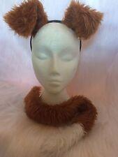 Chestnut Puppy Dog Ears & Tail Fancy Dress Chestnut & White Unisex One Size