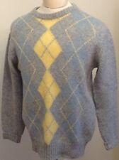 VTG Killardey Republic Of Ireland Sweater 100 % Shetland Wool Sz Sm Blue Argyle