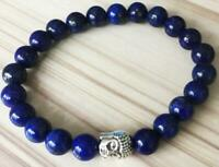 8mm Lapis lazuli bracelet 7.5inches Tibet silver Healing Sutra Spirituality