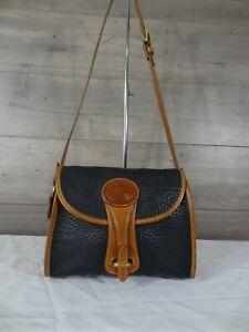 Dooney & Bourke Black Tan Leather Shoulder Bag Satchel Handbag Purse
