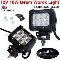 "2pcs  4"" Inch 6 LED 18W Spot / Flood Beam Work Light Off Road Car Truck Boat 12V"