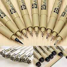 9pcs/ Set Blcak Micron Fine Liner Drawing Ink Pens & Brush Art Supplies New