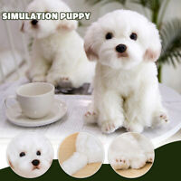 Cute Lifelike Realistic Maltese Dog Plush Toy Soft Stuffed Doll Kids Gift 38cm