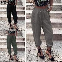 ZANZEA Femme Loisir Ample 100% coton Taille elastique Deux Poche Pantalon Plus
