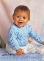 (256) Baby Sweater Copy Knitting Pattern, Gorgeous Cable Design in DK yarn