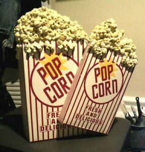 POPCORN WALL ART: Movie Hanging Sign: Theater Decor: Metal & Plaster Corn: RARE
