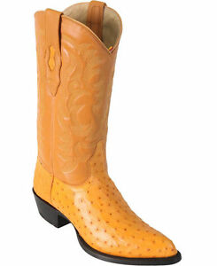 LOS ALTOS MEN BUTTERCUP GENUINE FULL QUILL OSTRICH WESTERN COWBOY BOOT J-TOE EE