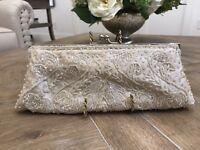 Ivory Cache' Beaded Evening Clutch w/ Hidden silver Shoulder strap Handbag Purse