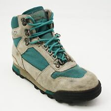 Vtg Ladies Size 7.5 Vasque Teal Nubuck Lightweight Hiking Ankle Trail Boots 7591