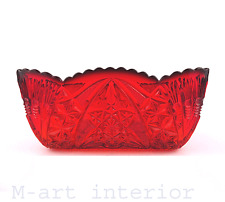 Antik Schale Rubin Rot Pressglas Schliff Ruby Red Bowl Bohemia Böhmen um 1920