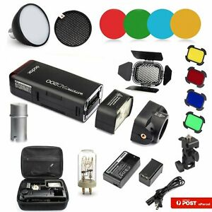 Godox AD200 TTL HSS Pocket Flash+Honeycomb Grid+Reflector+Color Filter+Holder